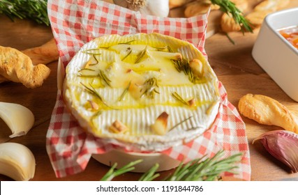 Oven Baked Camembert with Garlic,Rosemary and Chutney