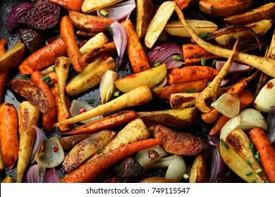 Oven baked vegetables, food