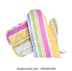 Oven glove and potholder for hot dishes on white background, top view