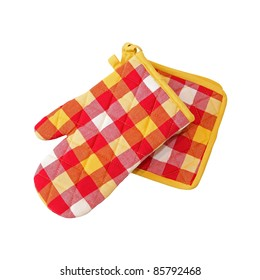 Oven mitt set isolated with clipping path included