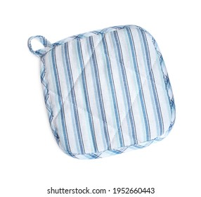 Oven potholder for hot dishes on white background, top view