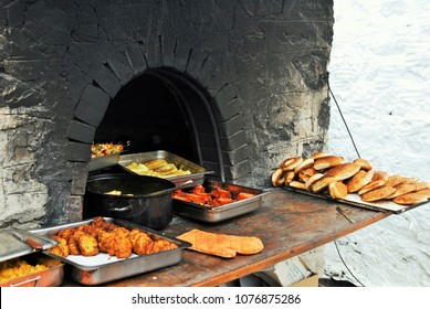 Oven-baked traditional dishes of Olympos village, Karpathos island, Greece.