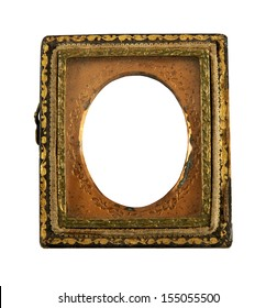 over 100 year old Daguerreotype empty tin picture frame on a white background