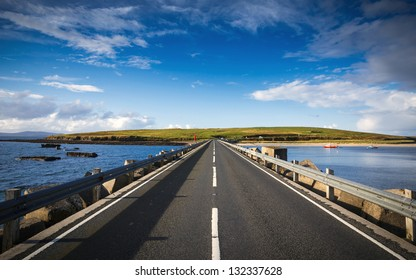 Over the barrier of Scapa Flow in the Orkney