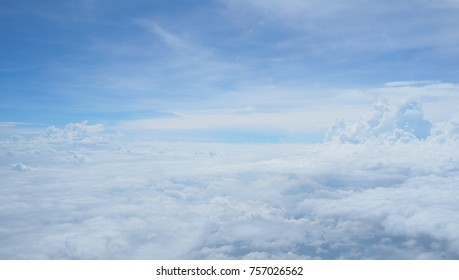 Over the clouds. Beautiful perfect sky and fantastic nature cloudy weather background.