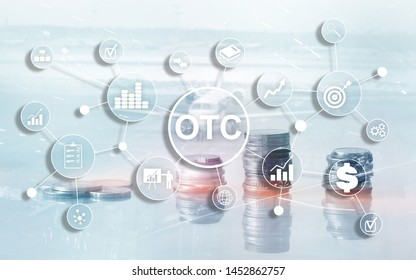 Over The Counter. OTC. Trading Stock Market concept coins on city background