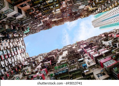 Over crowded housing in Hong Kong's old residential district of Quarry Bay. With a population of over 7 million, Hong Kong is one of the most densely populated areas in the world.