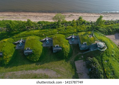 Over the Demidov artillery battery on a summer day (aerial photography). Kronstadt, Russia