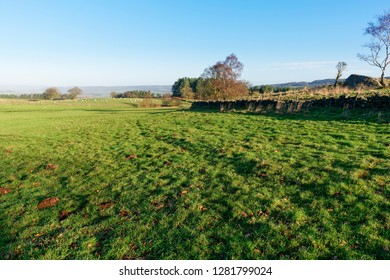 Over the fields and meadows following Derbyshires Limestone Way on a bright winter morning.