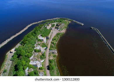 Over the First Northern Fort on a sunny May day (aerial photography). Kronstadt, St. Petersburg