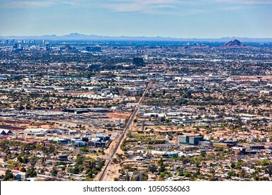 Over Gilbert, Arizona and beyond looking to the northwest at the cities of Mesa, Tempe, Phoenix and Scottsdale