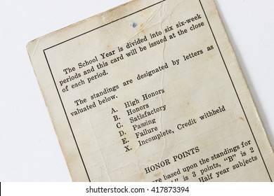 Over head view of a vintage report card from the 1930's