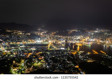 Over looking city lights of Nagasaki, Japan as scene from MT inasa.