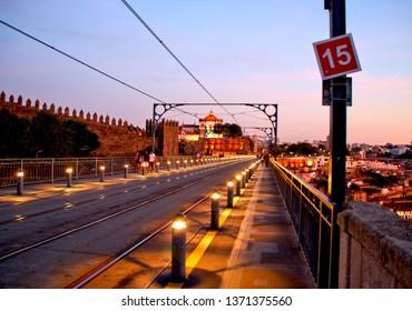Over the Luis I bridge in Oporto, Portugal