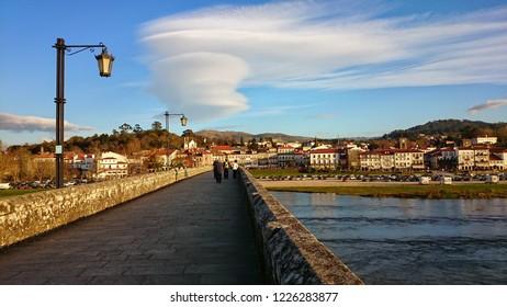 Over the medieval bridge in Ponte de Lima, Portugal