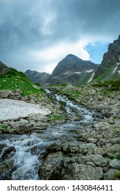 Over the mountain valley, cloudy weather, Caucasus Mountains, Arkhyz