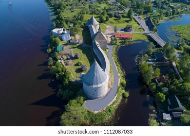 Over the Old Ladoga fortress in the sunny day. Old Ladoga, Russia