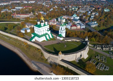Over the Pskov Kremlin in the sunny October afternoon. Russia