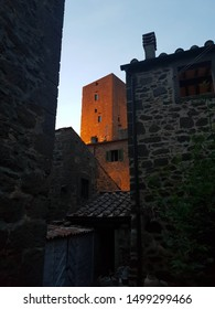 over the roofs of montecatini val di cecina in tuscany