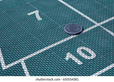 Over Sized Recreational Backyard Large Shuffle Board Court On Green Plastic  Floor Matt With White Scoring