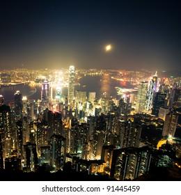 over view of modern city (Hongkong)