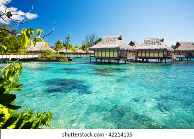 Over water bungalows with over amazing green lagoon