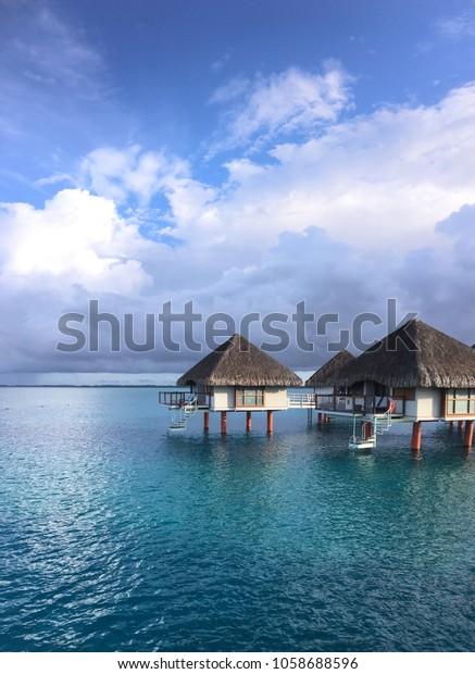 Over Water Bungalows Bora Bora Nature Buildings Landmarks