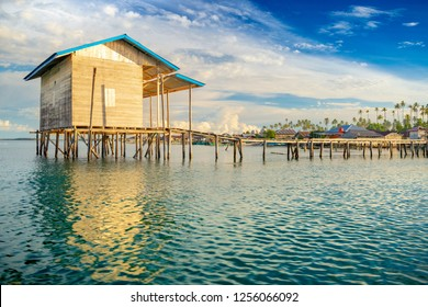 An over water house in the coast of Balai, the main town in Pulau Banyak archipelago in western Sumatra, Indonesia. A lonely and quiet place to spend time relaxing on holydays.
