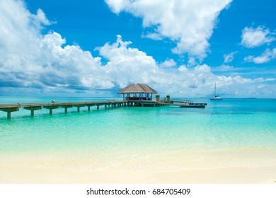 Over water wooden pier for boats and seaplanes, Maldives
