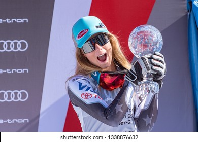 Overall FIS Alpine ski Super G winner US Mikaela Shiffrin celebrates the podium ceremony after competing in the Women's Super G race during the FIS Alpine ski world cup championship on March 14, 2019
