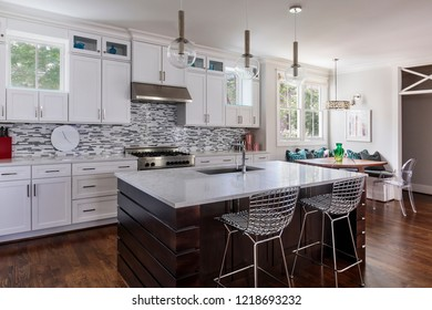 Overall of a kitchen and a nook