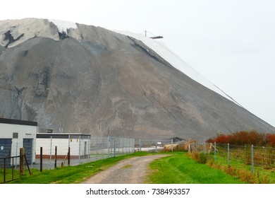 Overburden stockpile from potash mining underground, near Wunstorf, Lower Saxony, Germany