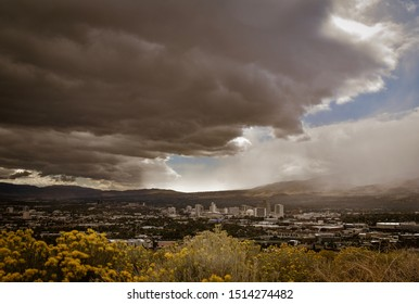 Overcast afternoon at the Reno Downtown Skyline. Reno, NV. September 2019.