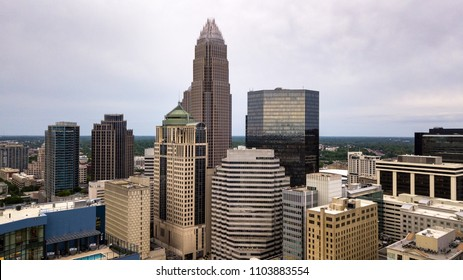Overcast skies cover the urban center that is Charlotte, North Carolina