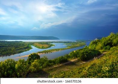Overcast skies on river Volga,  of Samara