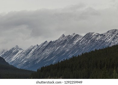 Overcast sky with Mountain view in the Canadian Rockies along the Icefields Parkway in Alberta, Canada.