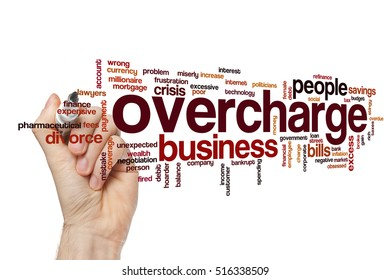 Overcharge word cloud concept