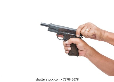 Overcharging a gun. Isolated on white background