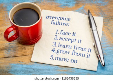 overcome failure tips - handwriting on a napkin with a cup of coffee