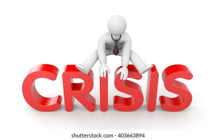Overcoming the crisis. 3d illustration