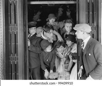 Overcrowded elevator