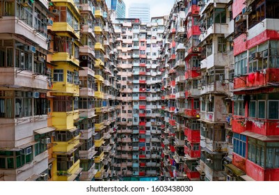 Overcrowded residential towers in a housing estate in Quarry Bay, Hong Kong~Crowded narrow apartments in a community in HK, an issue of high housing density  housing shortage due to overpopulation