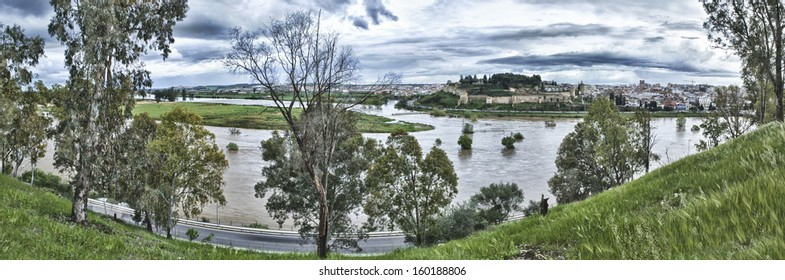 Overflow guadiana river in Badajoz. Panoramic shot, Spain