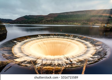 Overflow plug hole at Ladybower Reservoir in the Derwent Valley in Derbyshire