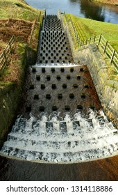 The overflow stepped spillway from Yeoman Hey Reservoir into Dovestone Reservoir