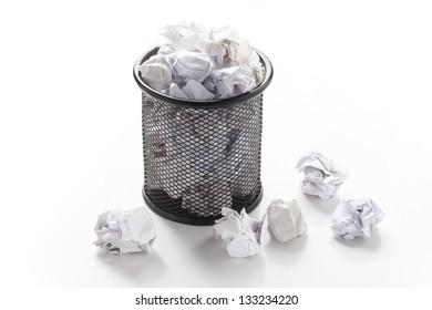 Overflowed wastepaper basket