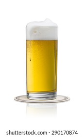 overflowing german beer in a glass isolated on white background