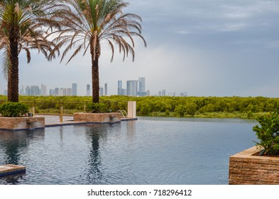 Overflowing swimming pool front of Mangroves, Abu Dhabi, UAE