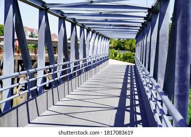 Overground Pedestrian Metal Crossing bridge walkway Modern steel building perspective
