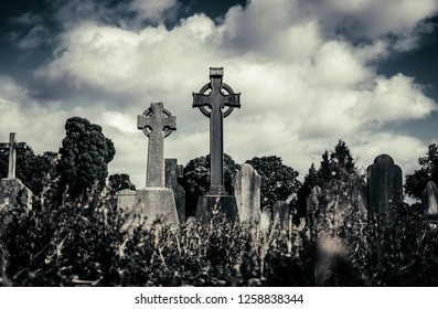 Overgrown aged graveyard with rows of dark grunge tombstones with symbol of Celtic cross